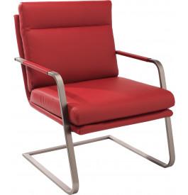 Fauteuil design MANGO PU rouge pieds S en acier