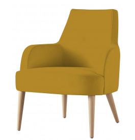 Fauteuil design hêtre massif tissu jaune