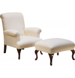 Fauteuil hêtre massif teinté merisier doré tissu blanc pieds galbés