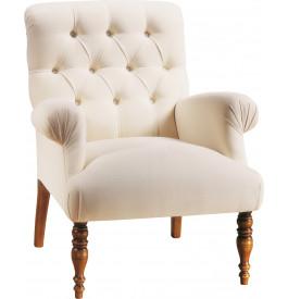Fauteuil hêtre massif teinté merisier doré tissu blanc dossier capitonné