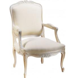 Fauteuil à la reine Louis XV hêtre massif laqué blanc tissu blanc