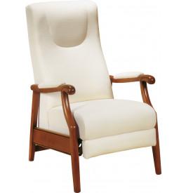 Fauteuil relax manuel hêtre massif teinté merisier doré tissu blanc
