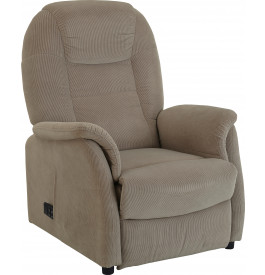 Fauteuil relaxation - releveur assise basse tissu velours gris clair