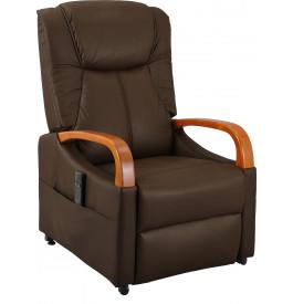 fauteuil relaxation releveur cuir brun accoudoirs bois fauteuil de salon salon. Black Bedroom Furniture Sets. Home Design Ideas
