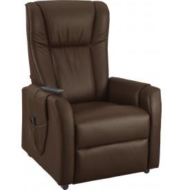 Fauteuil relaxation - releveur cuir brun poche rangement