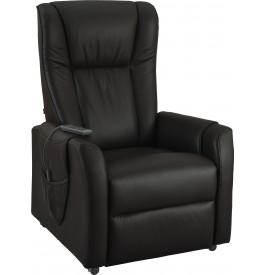 Fauteuil relaxation - releveur cuir noir poche rangement