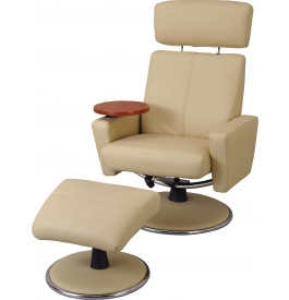 Fauteuil relaxation cuir ivoire tablette amovible avec repose pieds