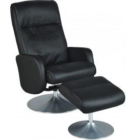 Fauteuil relaxation cuir noir avec repose pieds pieds chromé