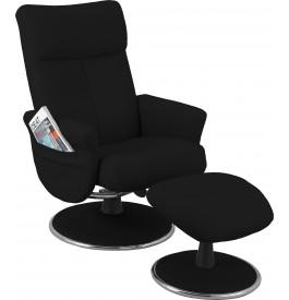Fauteuil relaxation cuir noir pochette avec repose pieds