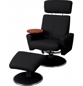 fauteuil relaxation cuir noir tablette amovible avec repose pieds. Black Bedroom Furniture Sets. Home Design Ideas