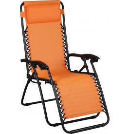 Fauteuil relaxation d'extérieur orange multiposition pliable