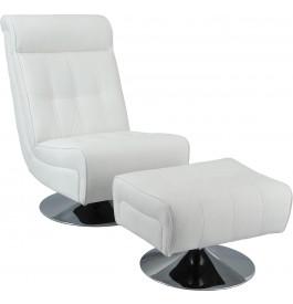 Fauteuil relaxation design blanc avec repose pieds métal chromé