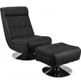 Fauteuil relaxation design noir avec repose pieds métal chromé