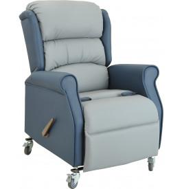 Fauteuil relaxation électrique PU gris et bleu position lit