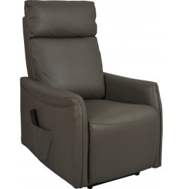 Fauteuil relaxation électrique cuir gris repose pieds intégré