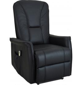 Fauteuil relaxation électrique cuir noir repose pieds intégré
