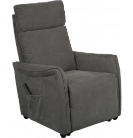 fauteuil relaxation lectrique microfibre gris repose pieds int gr. Black Bedroom Furniture Sets. Home Design Ideas