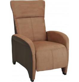 Fauteuil relaxation manuel microfibre et PU brun repose pieds intégré
