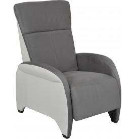 Fauteuil relaxation manuel microfibre gris et PU blanc repose pieds intégré