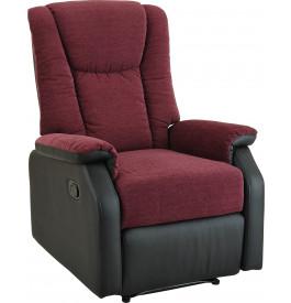 Fauteuil relaxation manuel tissu prune et PU noir repose pieds intégré