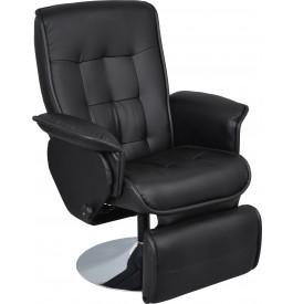 Fauteuil relaxation massant cuir noir avec repose pieds
