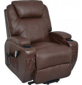 Fauteuil relaxation releveur électrique avec massage cuir brun flamme