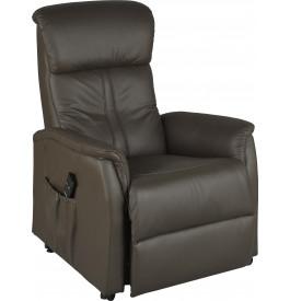 Fauteuil relaxation releveur électrique cuir brun
