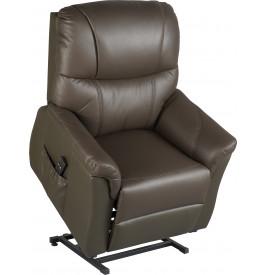 Fauteuil relaxation releveur électrique cuir brun 2 moteurs