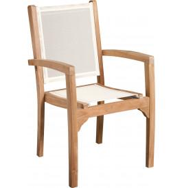 Fauteuil teck grade A assise et dossier textilène ivoire