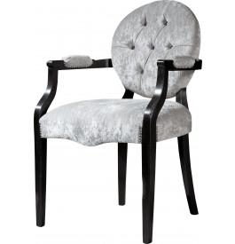 Fauteuils dossier médaillon capitonnées chêne massif assise velours gris (x2)