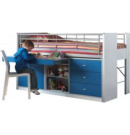 Lit enfant bureau rétractable laqué bleu BONNY