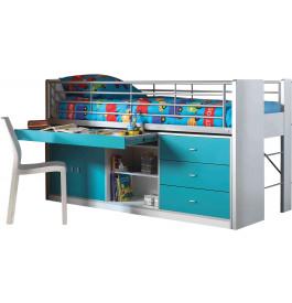 Lit enfant bureau rétractable laqué bleu turquoise BONNY