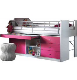 lit enfant bureau r tractable laqu fuchsia bonny. Black Bedroom Furniture Sets. Home Design Ideas