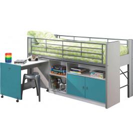 Lit enfant combiné bureau laqué bleu turquoise BONNY