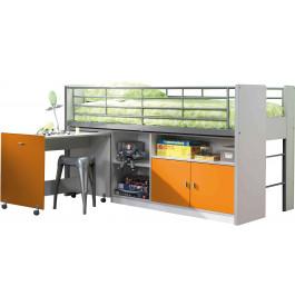 Lit enfant combiné bureau laqué orange BONNY