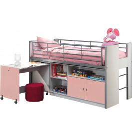 Lit enfant combiné bureau laqué rose clair BONNY