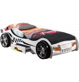 Lit enfant voiture de course blanc 1 tiroir 90x200