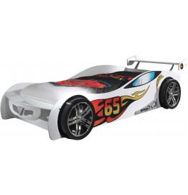 Lit enfant voiture de course blanc 90x200
