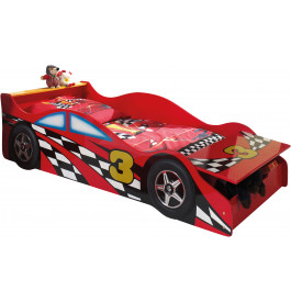 Lit enfant voiture de course rouge avec coffre 70x140
