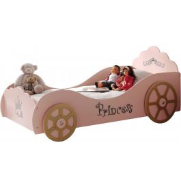 Lit enfant voiture princesse rose 90x200