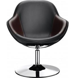 Lot de 2 fauteuil coque noir et brun pied métal