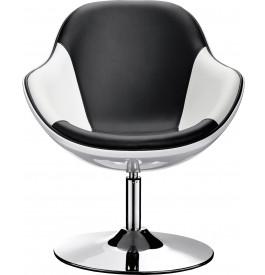 Lot de 2 fauteuils coque noir et blanc pied métal