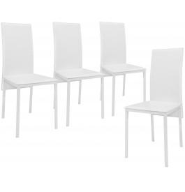 Lot de 4 chaises blanche dossier haut