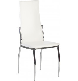 Lot de 4 chaises design pieds métal chromé assise blanche