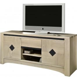 Meuble TV 2 portes chêne massif taupe 2 niches 1 tiroir