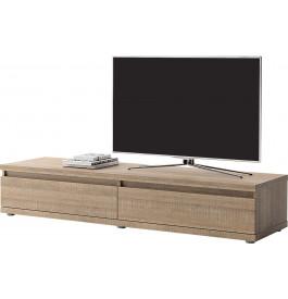 Meuble TV bas chêne taupe 2 tiroirs DERBY