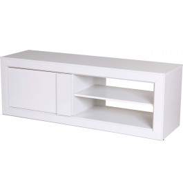 Meuble TV blanc 1 porte 2 niches