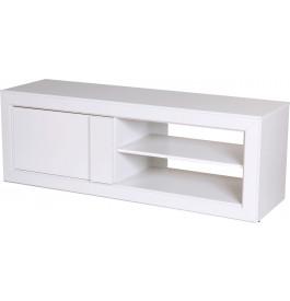 Meuble TV blanc 1 porte 2 niches