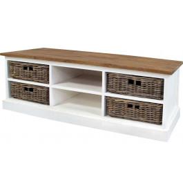 meuble tv blanc 2 niches 4 paniers rotin plateau teck. Black Bedroom Furniture Sets. Home Design Ideas