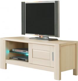 Meuble TV chêne blanchi 1 porte coulissante 1 étagère verre